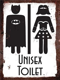 Vintage Metal Wall Sign - Superhero Unisex Toilet by Finger prints Bathroom Doors, Bathroom Art, Bathroom Signs, Woodworking Workshop, Woodworking Classes, Woodworking Plans, Woodworking Beginner, Woodworking Projects, Pub Vintage