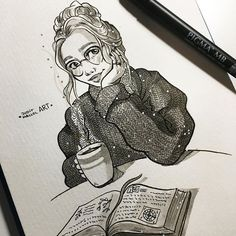 #inktober day 22! ✨  Such a gloomy day today... Just perfect to read a book with a big ass cup of hot coca ☕️ ✨Note: ALL THE INKTOBERS ARE AVAIABLE ON MY REDBUBBLE STORE PPL!! *link in bio* ✨