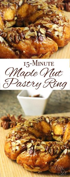 a super fast & easy recipe using refrigerated biscuits to create a beautiful & delicious sticky bun type pastry ring with a buttery maple nut glaze . Breakfast Pastries, Bread And Pastries, Breakfast Recipes, Dessert Recipes, Breakfast Ideas, Pecan Desserts, Easy Desserts, Pastry Recipes, Baking Recipes