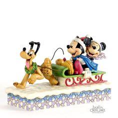 Mickey, Minnie & Pluto auf d. Schlitten