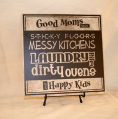 "Vinyl design ""Good Moms have Happy Kids"" Sign (wood board or tile) Mother's day gift on Etsy, $30.00"