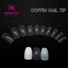 2 Color Coffin Nail Tips 500pcs Nail Art Tips Long False Nails ABS Artificial Full Cover Fake Nails Professional Manicure New