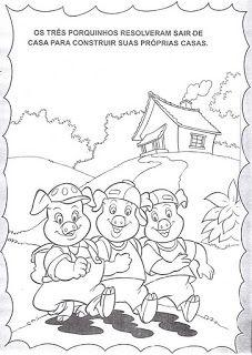 JARDIM COLORIDO DA TIA SUH: A história dos três porquinhos para ler e colorir ou…