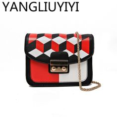 YANGLIUYIYI 2017 New Arrival Geometric Handbags Chains Mini Women Bag Panelled Messenger Bags