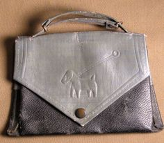 1920's Vintage Child's Purse with Art Deco Dog
