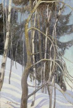 Winter trees are taupe-brown. They may or may not have a green tint to them. Scandinavian Paintings, Scandinavian Art, Contemporary Paintings, Helene Schjerfbeck, Winter Trees, Winter Art, Romanticism Paintings, Nordic Art, Russian Painting