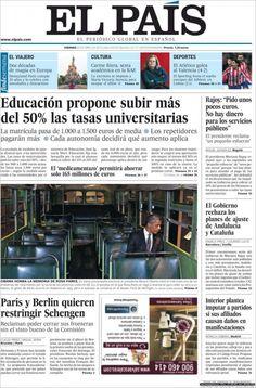 Portadas del 20 de abril 2012 – Recortes en Educación y Sanidad