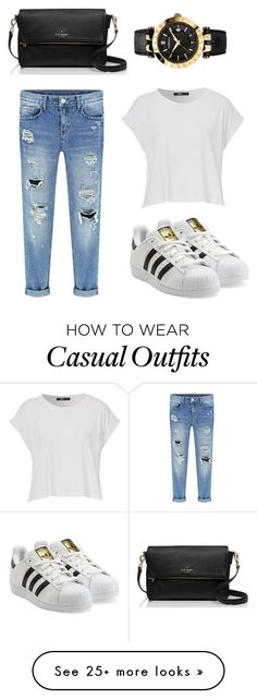 """Street Casual"" by sharsolis on Polyvore featuring adidas Originals, Kate Spade and Versace"