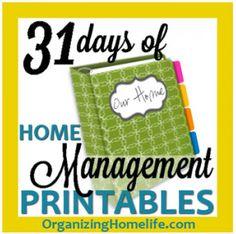 Home Management printables for binder