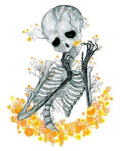 "A watercolor print by artist Raquel Aparicio named ""Woody"" brilliant work via gallerynucleus Skeleton Drawings, Skeleton Art, Skeleton Dance, Illustrations, Illustration Art, Woody, Anatomy Art, Skull And Bones, Memento Mori"