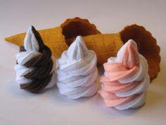 Felt Food Ice cream set waffle cone (half&half) eco friendly childrens pretend play food for toy kitchen