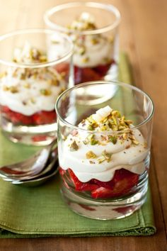 White Chocolate Mousse with Strawberries & Pistachios