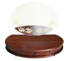 D-ART Maya Table Vanity in Mahogany Wood Nice Oval Shape....Handmade of Mahogany. Real Mirror with Flower Design Decals. 1 drawer for storage. Can be put on top of any tables or desks. Nice collection.  #D-Art_Collection #Home
