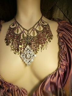 Bohemian Dripping Chandelier Necklace huge bib with vintage Weiss drop gypsy goddess With Moon and star via Etsy