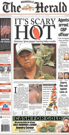 Extra! Extra! Ghost Peppers, Newspaper Design, News Design, Investigations, Memories, Movie Posters, Memoirs, Souvenirs, Bhut Jolokia