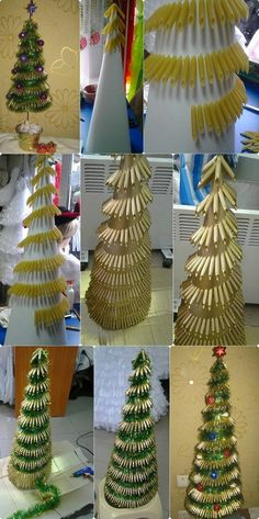 23 Creative And Unusual DIY Christmas Tree Ideas - BeautyHarmonyLife Diy Christmas Tree, Xmas Tree, Christmas Projects, All Things Christmas, Christmas Holidays, Christmas Ornaments, Tree Crafts, Holiday Crafts, Pasta Crafts