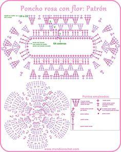 Beginning of Summer Poncho / Poncho's / Haken Crochet Diagram, Crochet Chart, Crochet Motif, Crochet Stitches, Crochet For Kids, Crochet Baby, Free Crochet, Knit Crochet, Crochet Patterns Free Women