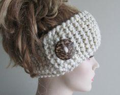 Wool Knit Headbands Button Grey Wheat Earwarmers Spring Fall Winter Handmade Accessories Headcovers Womens Girls Headwraps