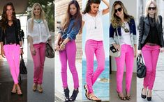Cool Outfits, Summer Outfits, Casual Outfits, Neon Pink Pants, Pink Jeans Outfit, Jeans Rosa, Look Legging, Pink Skinny Jeans, Outfits Mujer