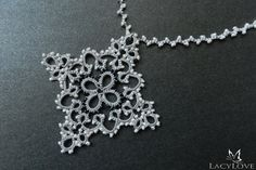 Tatted pendant  Cross pendant  Lace pendant by LacyLoveJewelry