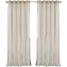 Anabelle Tulle Thermal Blackout Energy Efficient Grommet Curtain Panel... ❤ liked on Polyvore featuring home, home decor, window treatments, curtains, thermal drapery panels, grommet window panels, grommet draperies, grommet thermal curtains and grommet curtain panels