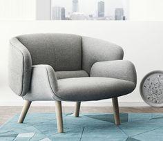 Chair, fusion design by nendo, grey felt with oak legs