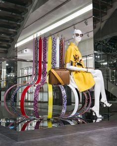 "FENDI,ginza,Tokyo,Japan, ""The grand pop-up store in Tokyo themes up with the… Fendi Strap, Retail Windows, Text On Photo, Higher Design, Shop Window Displays, Showcase Design, Retail Shop, Window Design, Retail Design"