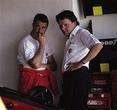 Nigel Mansell, John Barnard, race car designer, Rio de Janeiro, Brazil, 26 March 1989.