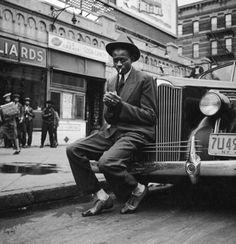 satchel paige in harlem, 1941 - by george strock