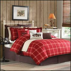 fishing on the lake theme bedroom rustic hunting theme decorating. mix of patches in solids, stripes and plaids. The bold red colour is enhanced by the soft neutral tan patches in solids, stripes and plaids
