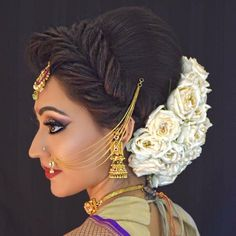 Wedding Hairstyles Indian With Braids - pinpremma on indian bridal hairstyles in 2019 Bridal Hairstyle Indian Wedding, South Indian Bride Hairstyle, Bridal Hair Buns, Bridal Hairdo, Indian Wedding Hairstyles, Wedding Bun, Wedding Makeup, Bridal Makeup, Wedding Bells