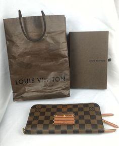 100% Authentic LOUIS VUITTON Damier Ebene Insolite Trunks and Locks Long Wallet #LouisVuitton #InsoliteWallet