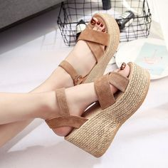 women sandal shoes on sale at reasonable prices, buy Summer Buckle Women's Sandals Velvet Flock Fish Mouth Fashion high Heel Platform Open Toes Women Sandals Shoes Drop Shipping from mobile site on Aliexpress Now! Platform Wedges Shoes, Women's Shoes Sandals, Wedge Shoes, Slipper Sandals, Cheap Sandals, Sandals For Sale, Open Toe Shoes, Open Toe Sandals, Sandal Price