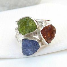 Multi Stone Silver Ring Gemstone Ring Silver Ring Raw Stone | Etsy Rose Quartz Ring, Pink Quartz, Rainbow Moonstone Ring, 925 Silver Earrings, Pink Gemstones, Silver Rings Handmade, Boho Rings, Peridot, Definitions