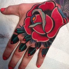 Traditional Ink and Rose hand tattoo on Pinterest