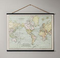 Vintage World Map Tapestry | Art | Restoration Hardware Baby & Child