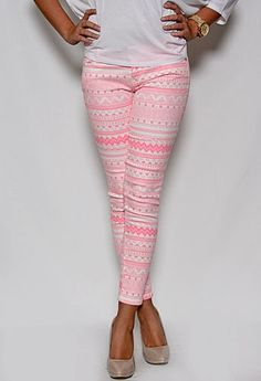 Aztec Print Ankle Skinny Jeans $29.00