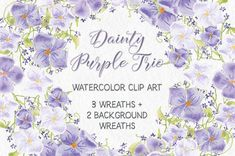 Dainty purple trio: wreaths by Lolly's Lane Shoppe on @creativemarket