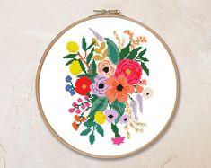 Pillow Embroidery, Custom Embroidery, Needlepoint Pillows, Personalized Wedding Gifts, Counted Cross Stitch Patterns, Vintage Flowers, Colorful Flowers, Email Address, Floral