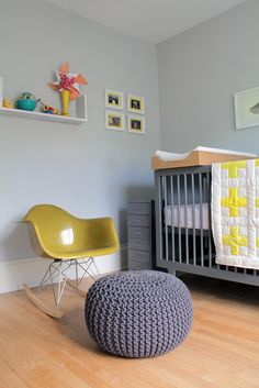 ohdeedoh - baby nursery - gus' modern nursery on a budget - 'knitted grey pouf' by Love the pouf, hate the chair Baby Bedroom, Nursery Room, Kids Bedroom, Nursery Decor, Child's Room, Bedroom Decor, Grey Yellow Nursery, Nursery Neutral, Gray Crib
