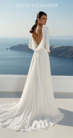 672ddf52e45 Style 88027  Long Sleeve Crepe Gown with Cowl Back Detail