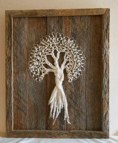 Tatted Lace Tree on Rustic Barn Wood Measuring 9 x 11 from Moggy Needle Tatting, Tatting Lace, Needle Lace, Barn Wood, Rustic Barn, Bordados E Cia, Tatting Tutorial, Tatting Jewelry, Lacemaking