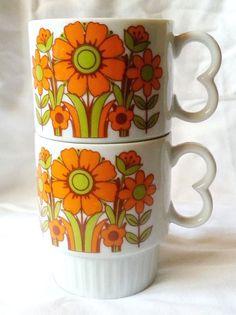 Vintage Coffee Mug Retro Orange Avocado Green Flower Stackable Japan Set 2 #Unbranded