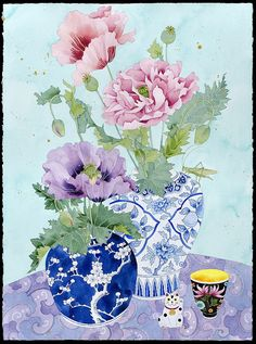 Limited edition print on archival paper: Precious cargo 1 Watercolour Painting, Watercolor Flowers, Sibylla Merian, Arches Paper, Affordable Art Fair, Chinese Art, Flower Art, Decoupage, Poppies