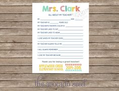 End of School Year Teacher gift.... simply print for each student, collect and make into book!