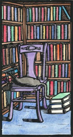 Cat in library / Gato en la biblioteca (ilustracion de Mark B Hill)