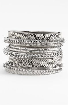 love my bangles  Natasha Couture 'Python' Bangles (Set of 11) available at #Nordstrom  Trend Accessories