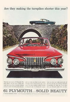 61 PLYMOUTH VINTAGE CAR Ad Retro Car Ad by EncorePrintSociety