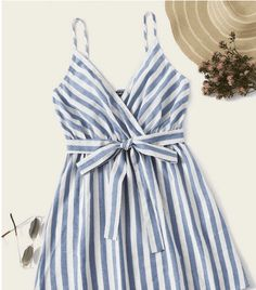 To find out about the Striped Surplice Neck Belted Slip Dress at SHEIN, part of our latest Dresses ready to shop online today! Cute Summer Outfits, Holiday Outfits, Cute Outfits, Trendy Outfits, Summer Dresses, Belted Dress, Striped Dress, Spaghetti Strap Dresses, Latest Dress