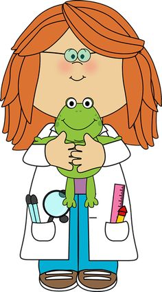 Girl Scientist with Frog - Girl for Welcome Board